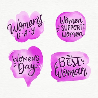 Watercolor womens day badge collection