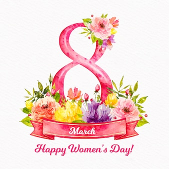 Watercolor womens day concept