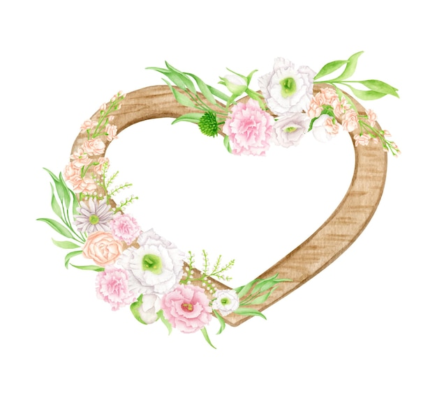Watercolor wood floral heart illustration