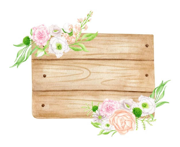 Watercolor wood signboard with delicate flowers and leaves