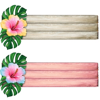 Watercolor wood striped with tropical flowers