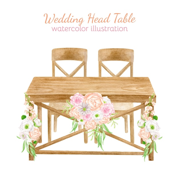 Watercolor wood wedding table with flower arrangement wedding decor sketch illustration