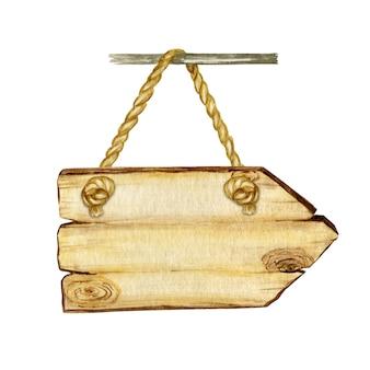 Акварель деревянные вывески стрелки, пустой бланк.