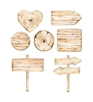 Watercolor wooden boards collection