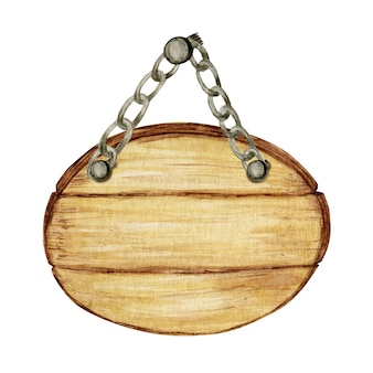 水彩の木製サークル看板、空の空白が分離されました。ヴィンテージの古い、レトロな手描きの木製バナー、板、ボード。テキストのためのスペースの図。メッセージのサイン