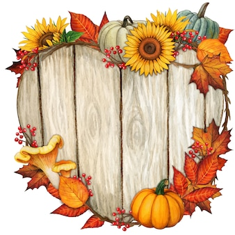 Watercolor wooden heart shaped sign with fall decorations