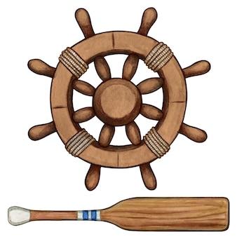 Watercolor wooden helm and oar