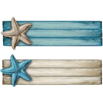 水彩木製航海ヴィンテージバナー