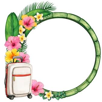 Акварельная деревянная круглая рамка с тропическими цветами и чемоданом