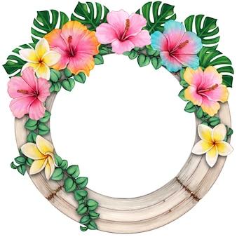 熱帯の花と水彩の木製の丸いフレーム