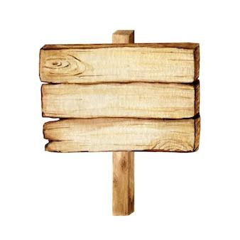 水彩の木製看板、空の空白が分離されました。ヴィンテージの古い、レトロな手描きの木製バナー、板、ボードのセットです。テキストのためのスペースの図。パスファインディング用のメッセージのサイン。