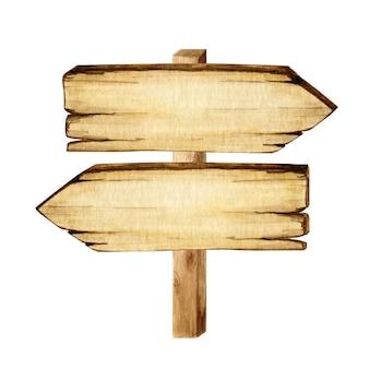 水彩の木製看板、空の空白が分離されました。ヴィンテージの古い、レトロな手描きの木製バナー、板、ボードのセットです。テキストのためのスペースの図。パスファインディング用の矢印の付いたメッセージのサイン。