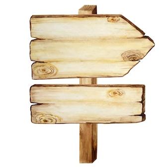 水彩の木製看板、空の空白が分離されました。ヴィンテージの古い、レトロな手描きの木製バナー、板、ボード。テキスト用のスペースの図。パスファインディング用の矢印の付いたメッセージのサイン。