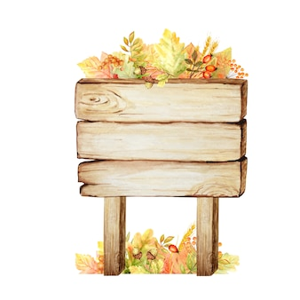 水彩の木製看板、秋と分離された空の空白の葉の装飾。ヴィンテージの古い、レトロな手描きの木製バナー、板、ボード。テキストのためのスペースの図。メッセージのサイン