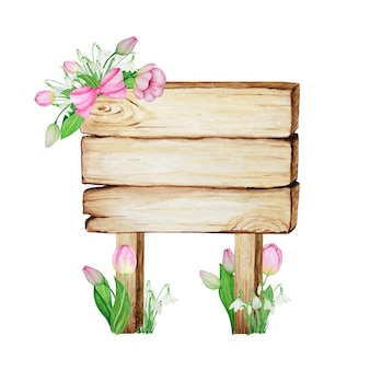 Watercolor wooden signboards, empty blank isolated with spring flowers decoration.