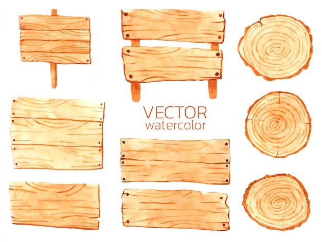 Watercolor wooden tablets vector wooden for design