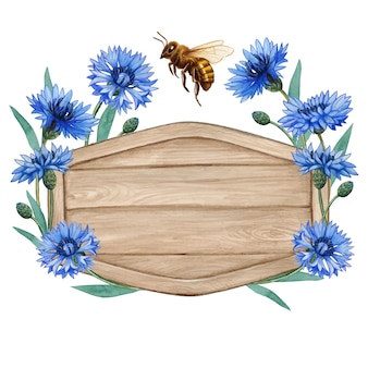 Watercolor wooden tag with bluebottle flowers and honey bee