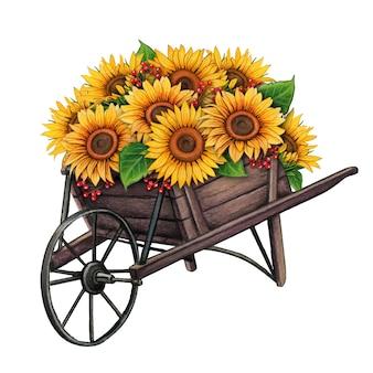 Watercolor wooden wheelbarrow with sunflowers
