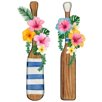 Watercolor woodoars decorated with tropical flowers and scroll