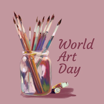 Иллюстрация всемирного дня искусства акварели