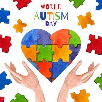 水彩世界自閉症啓発デーイラスト