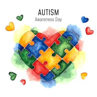 Watercolor world autism awareness day illustration Premium Vector