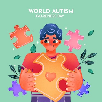 Watercolor world autism awareness day illustration