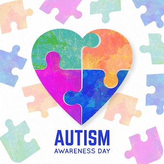 Watercolor world autism awareness day