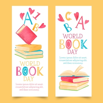 Watercolor world book day banner collection