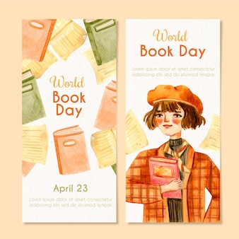 Watercolor world book day banner