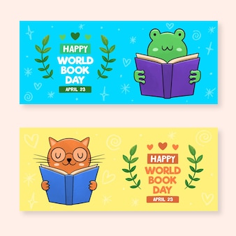 Watercolor world book day banners set
