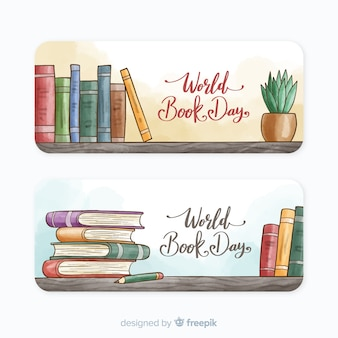 Watercolor world book day banners