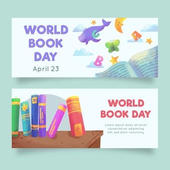 Bandiere di giorno del libro del mondo dell'acquerello