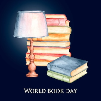 Watercolor world book day concept