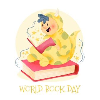 Watercolor world book day design