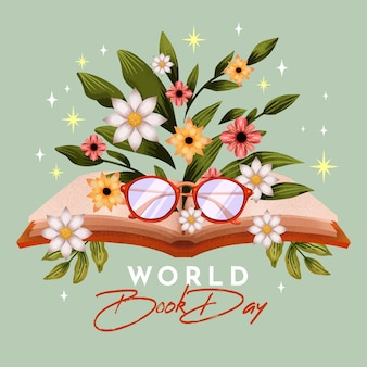 Иллюстрация всемирного дня книги акварель