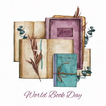Watercolor world book day illustration