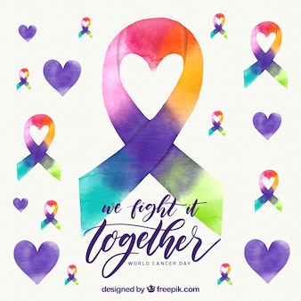 Watercolor world cancer day background with ribbon in rainbow colors