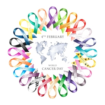Watercolor world cancer day illustration with ribbons