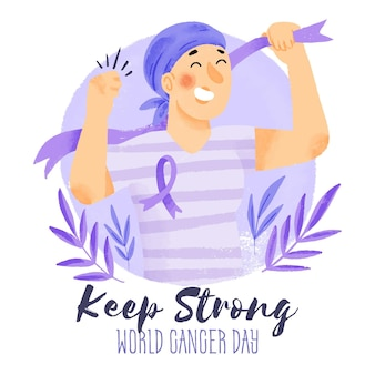 Watercolor world cancer day