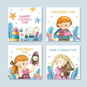 Watercolor world children's day instagram posts collection