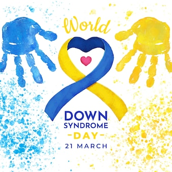 Watercolor world down syndrome day painting