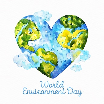 Watercolor world environment day concept