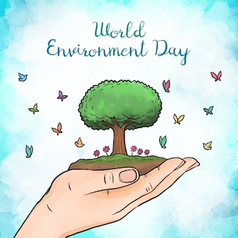 Watercolor world environment day paint
