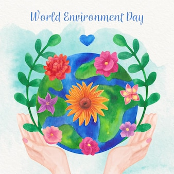 Watercolor world environment day with globe and hands