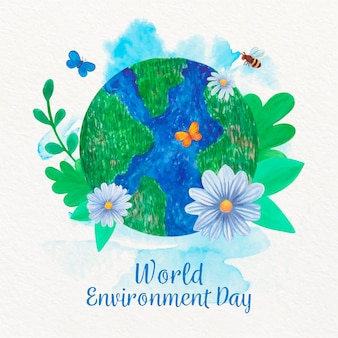 Watercolor world environment day with globe