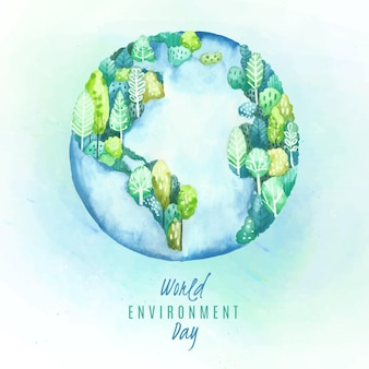 Watercolor world environment day