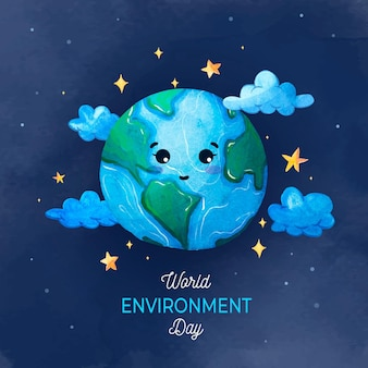 Watercolor world environment day