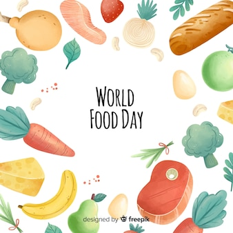 Watercolor world food day frame
