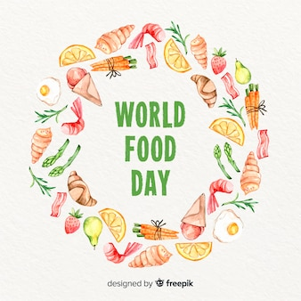 Watercolor world food day with aliment ring